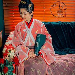 【胡萝卜巧克力】纨素 印花晋襦六米摆褶裙四件套 汉服华服