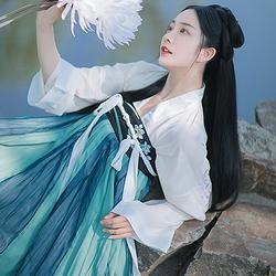 清溪#漱玉词汉服 原创设计6米齐胸间色裙汉元素刺绣日常两片式