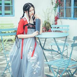 鲜妍 花朝记汉服原创刺绣齐胸汉元素网纱连衣裙春夏文艺红色女装
