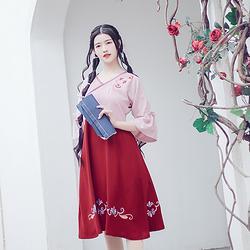 春舞花朝记汉服原创刺绣汉元素交领短袖连衣裙汉元素优雅复古女装