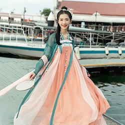 汉尚华莲红珊瑚正品原创汉服女中国风绣花两片式改良齐胸襦裙日常