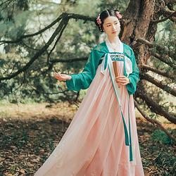 菩提:莲芯 池夏原创设计改良汉服汉元素齐胸襦裙套装 莲花刺绣