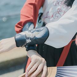 汉尚华莲煮酒传统汉服配饰中国风情侣男女刺绣百搭武侠护腕一对