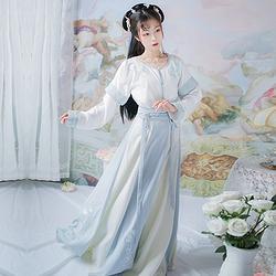 暮潮生  观其赋原创汉服女装坦领半臂内搭一片裙三件套