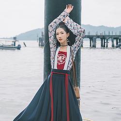 汉尚华莲阙安传统汉服女装格纹印花对襟襦裙中国风日常时尚春夏装