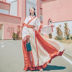 汉尚华莲酒笙歌传统汉服女绣花半臂齐腰交领襦裙套装中国风日常夏