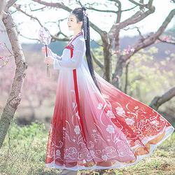 如梦霓裳汉服女装花神系列齐胸襦裙水仙6米大裙摆刺绣花日常春夏