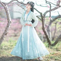 如梦霓裳汉服女装花神系列对襟襦裙水仙刺绣花日常夏季新款原创