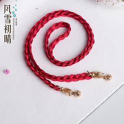 风雪初晴原创设计古典古风头饰编织绳流苏汉服配饰红绳