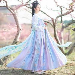 如梦霓裳汉服女装花神系列齐胸襦裙山茶六米摆刺绣花日常夏季新款