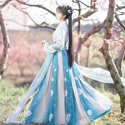 如梦霓裳汉服女装花神系列对襟襦裙山茶六米摆刺绣花日常夏季新款
