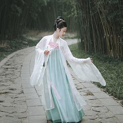 化蝶 珍珠镶边重工绣花朝记汉服齐胸襦裙白色百搭大袖衫春夏女装