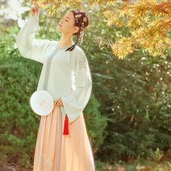鹿童与茶 花朝记汉服原创子品牌方舆明制圆领衫日常清新春夏女装