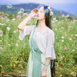 平绿花朝记原创女装春装绣花汉服元素圆领子母扣背带间色长裙混搭