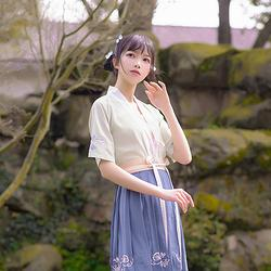 玉盏 花朝记汉服原创设计刺绣对襟半臂吊带短裙套装文艺春夏女装