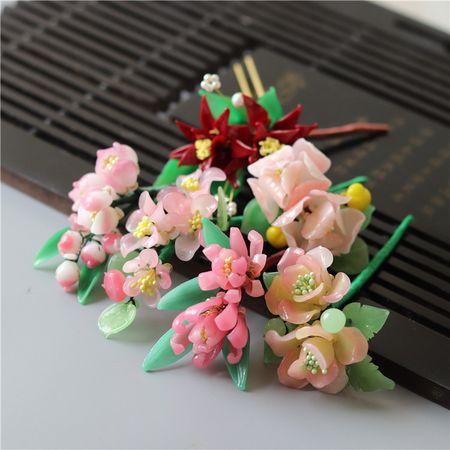 青山隐隐料器花孤品发簪 娇羞粉红美人面芙蓉花料器发簪发钗