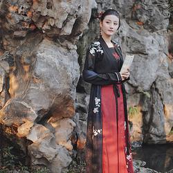 惊鹊 花朝记汉服原创 刺绣黑红对襟一片式穿孔八破裙 春款女装