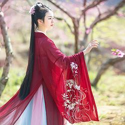 如梦霓裳汉服女装花神系列大袖衫丁香刺绣花日常夏季新款