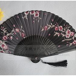 【黑樱梨】棠樾古风黑扇面粉樱花6寸日用小巧真丝折扇