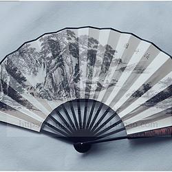 【泛舟图】棠樾古风10寸男式雕花扇骨水墨 泛舟图书法大扇子