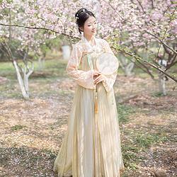 海棠 粉杏色 汉服齐胸襦裙幻色6米大摆蕾丝上襦春夏女装 观止茶舍
