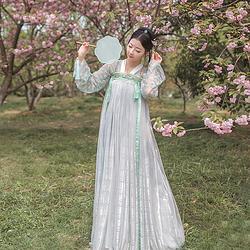 海棠 蓝灰色 汉服齐胸襦裙幻色6米大摆蕾丝上襦春夏女装 观止茶舍