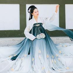 云香霓裳原创传统汉服女9米大摆裙沁兰绣花齐胸对襟襦裙日常夏季