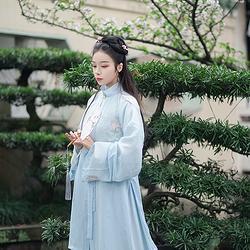 青荷渡 观其赋原创汉服女装立领裙套装,立领长衫一片式下裙