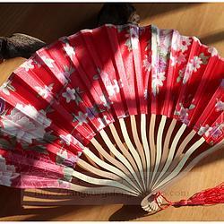 【红色】小清新印花古风工艺品绢布七寸龙形折扇