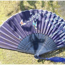 【藏青蝶恋花】中国风小清新蝶恋花水波纹印花七寸日用折扇