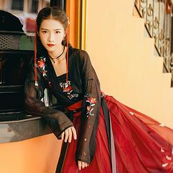 汉尚华莲琅华正品原创传统汉服女中国风对襟襦裙印花褶裙日常