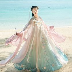 汉尚华莲画皮原创汉服女夏中国风齐胸襦裙渐变超仙6米间色大摆