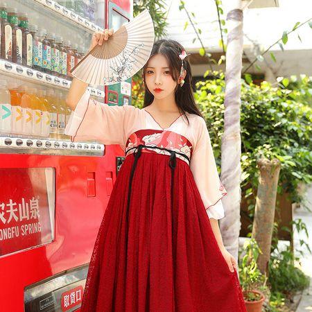 鹿韵记原创改良汉服女武夷岩茶齐胸连衣裙汉元素春夏中国风小清新