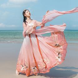 汉尚华莲灵语鹤齐腰对襟襦裙传统汉服女夏渐变6米摆12只仙鹤刺绣